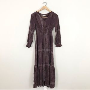 Altar'd State small Maxi Dress Purple Paisley Long Sleeves Tiered